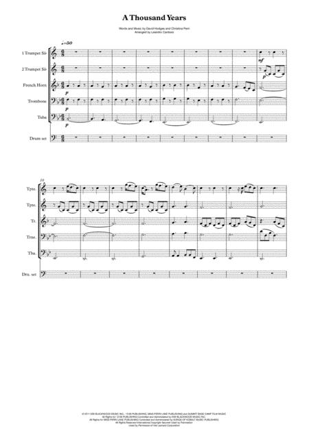 A Thousand Years - Brass Quintet