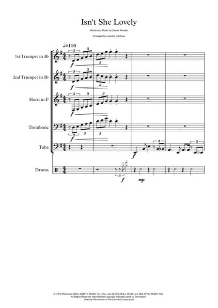Isn't She Lovely - Brass Quintet
