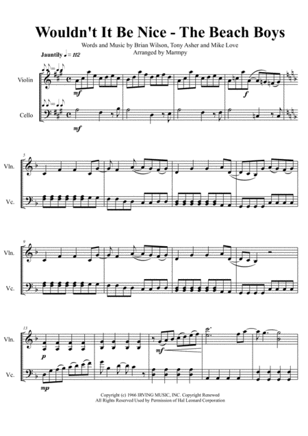 Wouldn't It Be Nice - The Beach Boys (arranged for String Duet)
