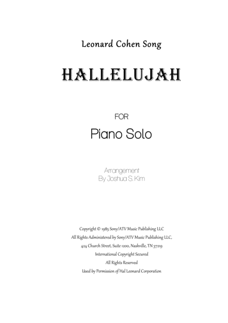 Hallelujah (from Shrek) for Piano Solo