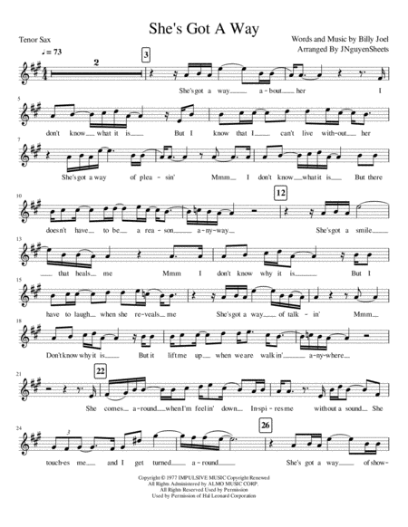 She's Got A Way (Tenor Saxophone)