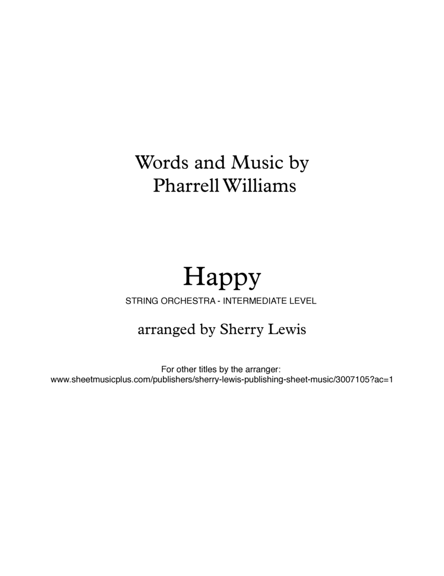 Happy String Quartet, String Trio, String Duo, Solo Violin, String Quartet + string bass chord chart, arranged by Sherry Lewis