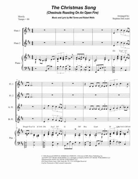 The Christmas Song (Chestnuts Roasting On An Open Fire) (for Flute Choir)