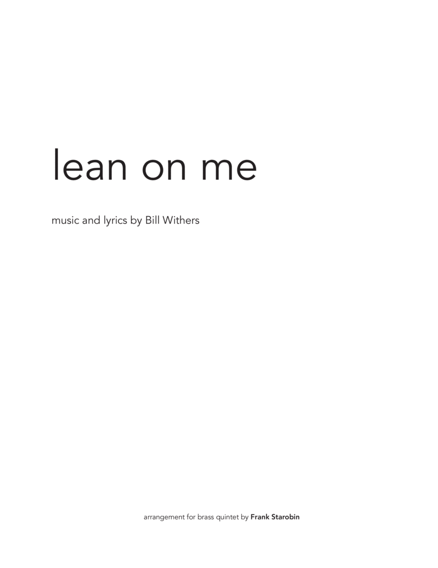 Lean On Me for Brass Quintet