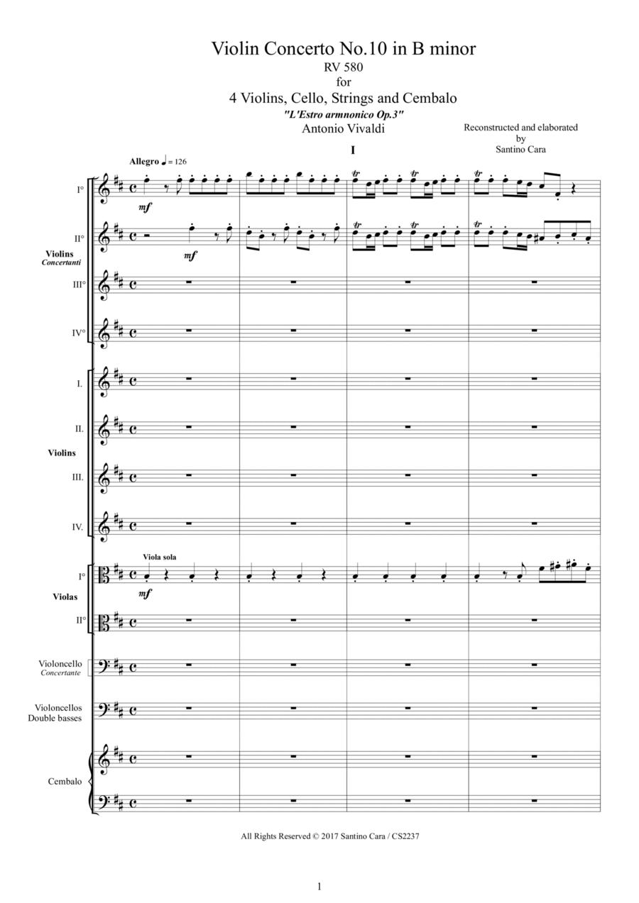 Vivaldi - Violin Concerto No.10 in B minor RV 580 Op.3 for 4 Violins, Cello, Strings and Cembalo