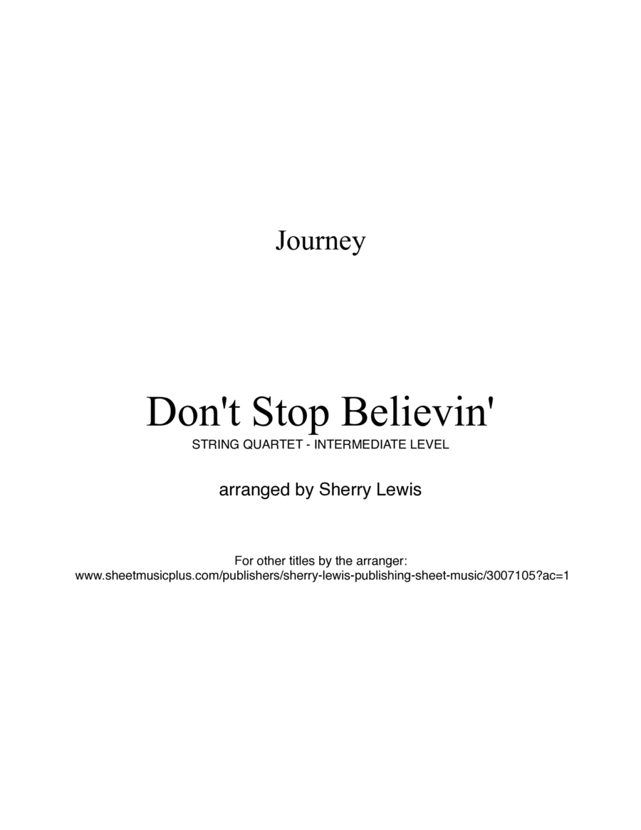 Don't Stop Believin' String Quartet, String Trio, String Duo, Solo Violin, String Quartet + string bass chord chart, arranged by Sherry Lewis