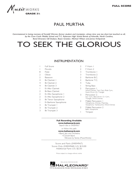 To Seek the Glorious - Conductor Score (Full Score)