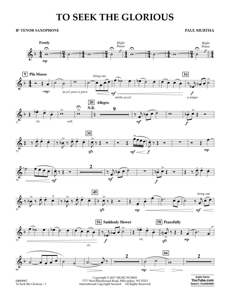 To Seek the Glorious - Bb Tenor Saxophone