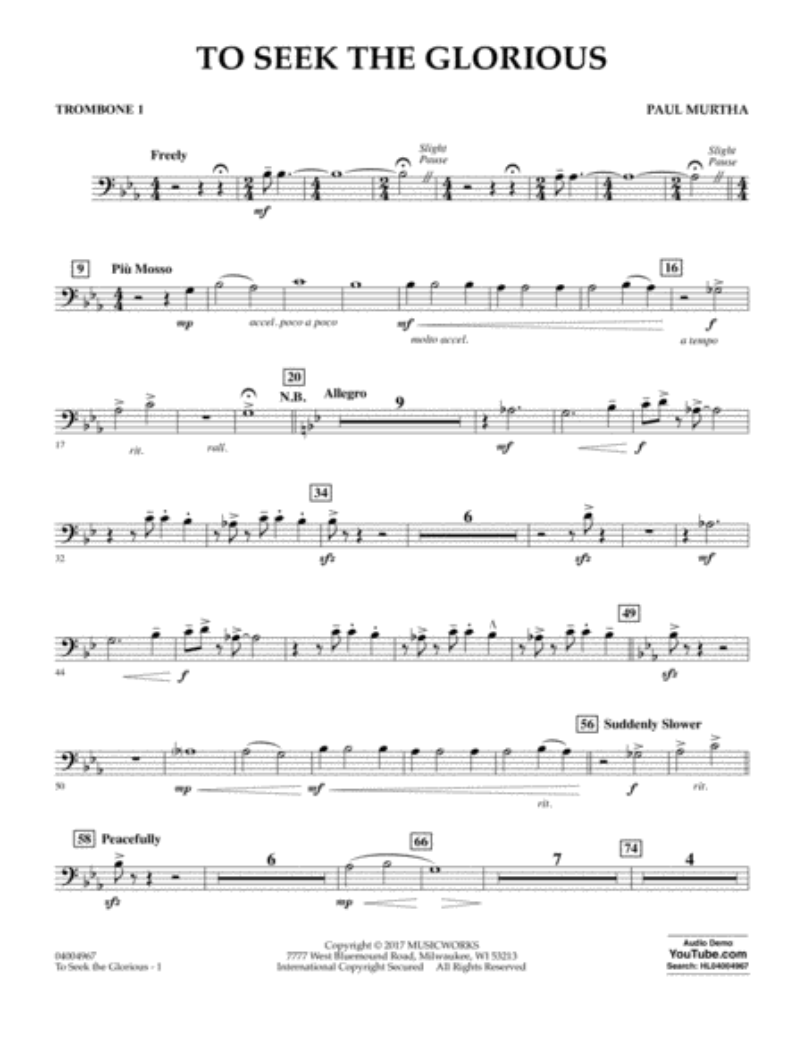 To Seek the Glorious - Trombone 1