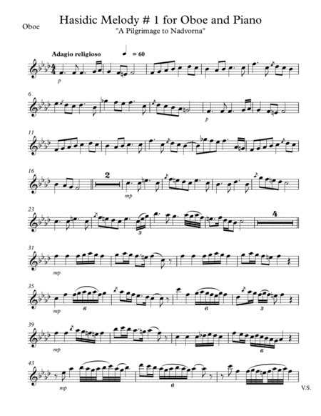 Hasidic Melody # 1 for Oboe and Piano