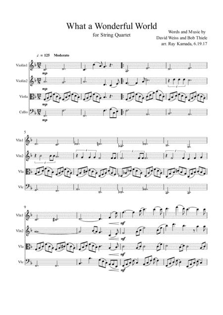 What A Wonderful World, for String Quartet