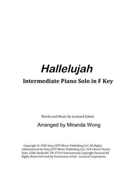 Hallelujah - Romantic Piano Solo in F Key (With Chords)