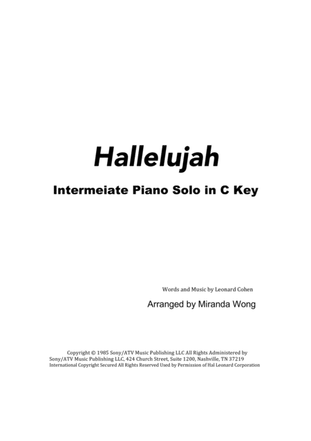 Hallelujah - Easy Piano Solo in C Key (With Chords)