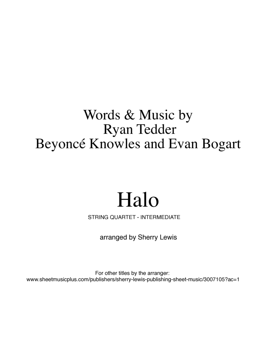 Halo, Beyonce String Quartet, String Trio, String Duo, Solo Violin, String Quartet + string bass chord chart, arranged by Sherry Lewis