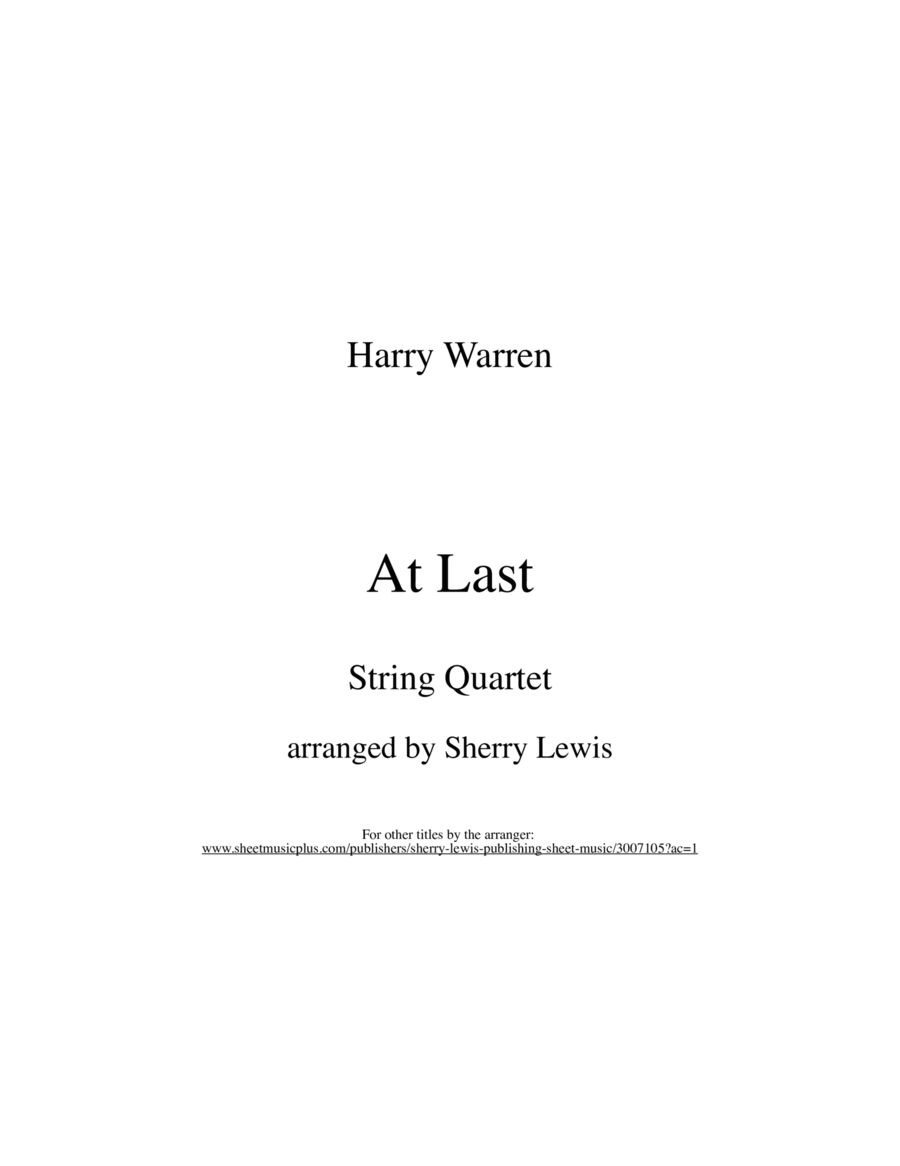 At Last String Quartet, String Trio, String Duo, Solo Violin, String Quartet + string bass chord chart, arranged by Sherry Lewis