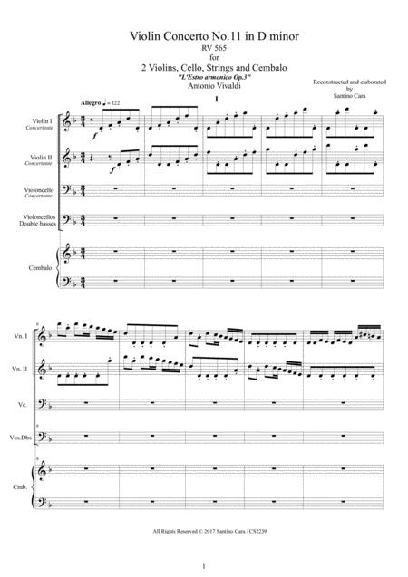 Vivaldi - Violin Concerto No.11 in D minor RV 565 Op.3 for Two Violins, Cello, Strings and Cembalo