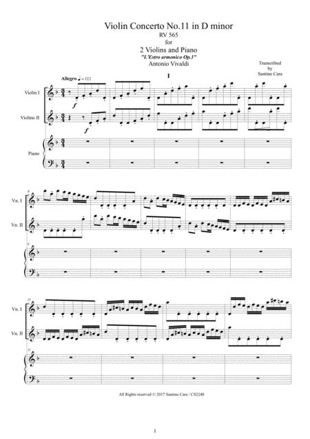 Vivaldi - Violin Concerto No.11 in D minor RV 565 Op.3 for Two Violins and Piano
