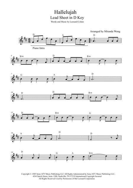 Hallelujah - Tenor or Soprano Saxophone Solo (Bb Instrument)