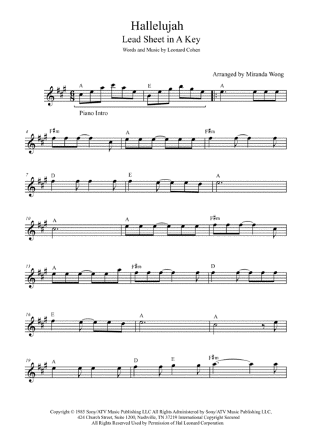 Hallelujah - Alto or Baritone Saxophone Solo (Eb Instrument)