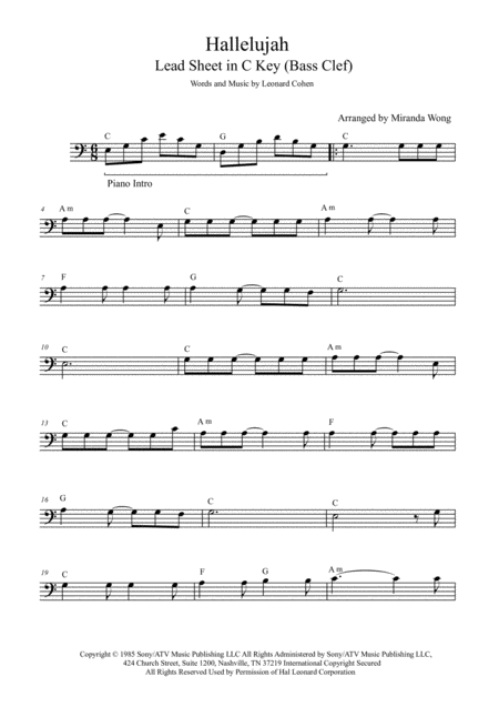 Hallelujah - Cello or Double Bass Solo (With Chords)