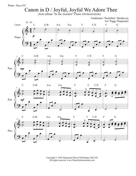 Canon in D / Joyful, Joyful We Adore Thee (Key of C - Solo Piano)