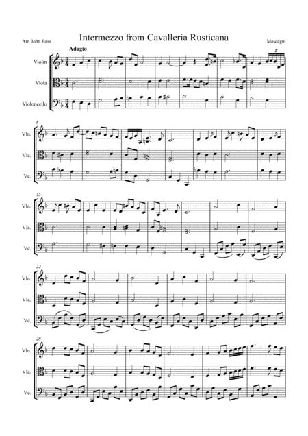 Intermezzo from Cavalleria Rusticana, arranged for String Trio (Violin, Viola and 'Cello)