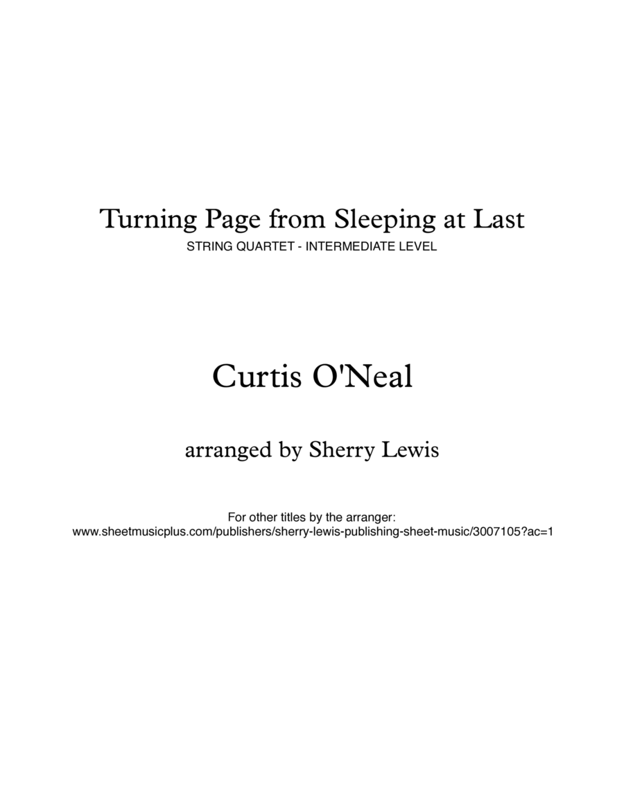 Turning Page String Quartet, String Trio, String Duo, Solo Violin, String Quartet + string bass chord chart, arranged by Sherry Lewis