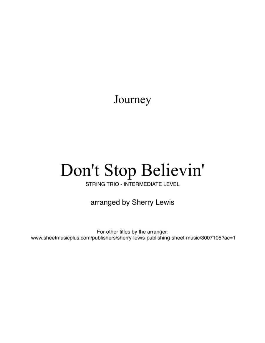 Don't Stop Believin' by Journey for STRING TRIO arranged by Sherry Lewis