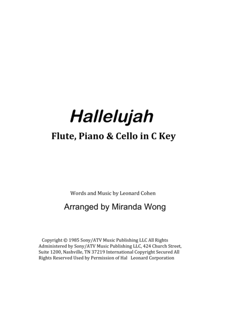 Hallelujah - Flute, Piano and Cello in C Key (With Chords)
