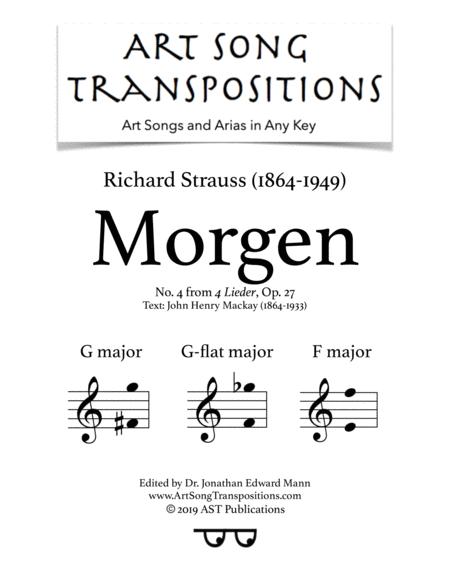 Morgen! Op. 27 no. 4 (in 3 medium keys: G, G-flat, F major)