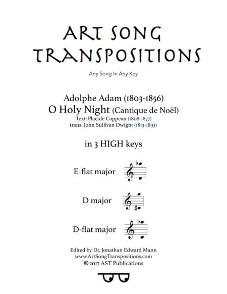O Holy night (in 3 high keys: E-flat, D, D-flat major)