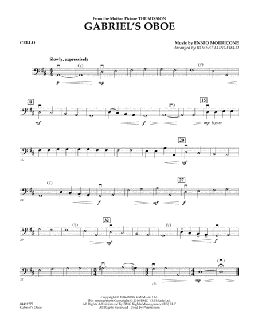 Gabriel's Oboe - Cello