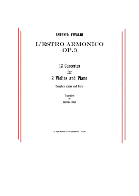 Vivaldi - L'Estro Armonico Op.3 - 12 Concertos for 2 Violins and Piano - Scores and Parts