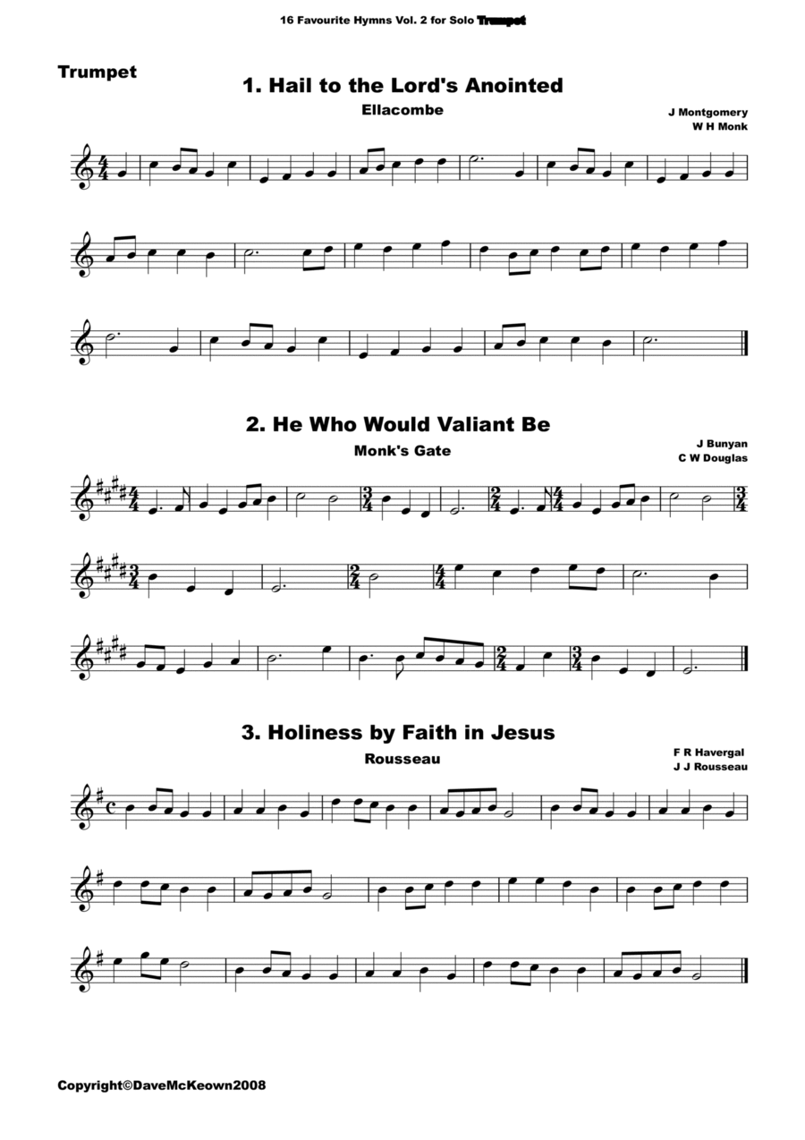 16 Favourite Hymns Vol.2 for solo Trumpet