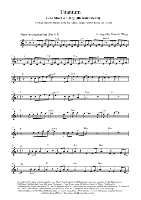 Titanium - Tenor or Soprano Saxophone Solo