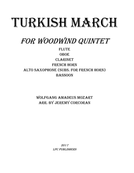 Turkish March for Woodwind Quintet