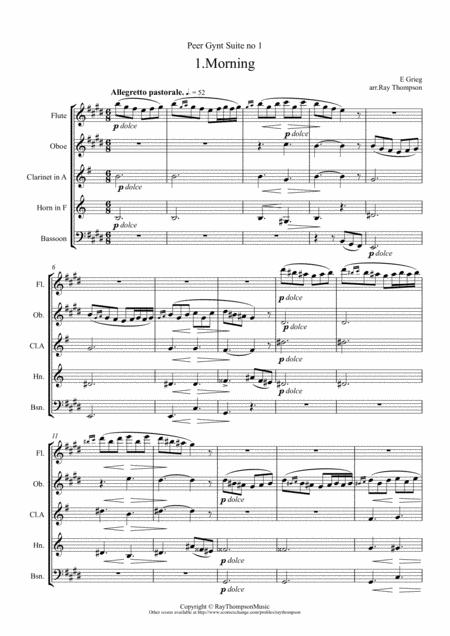 Grieg: Peer Gynt Suite no 1 Op.46 (Complete) - wind quintet