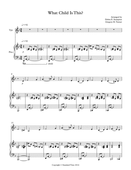 What Child Is This for Trumpet Solo with Piano Accompaniment