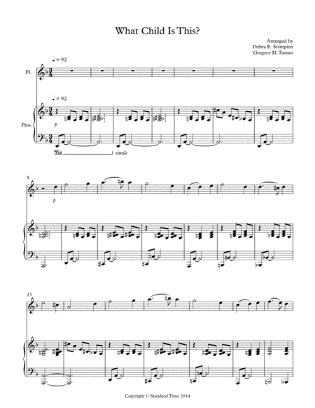 What Child Is This for Flute Solo with Piano Accompaniment