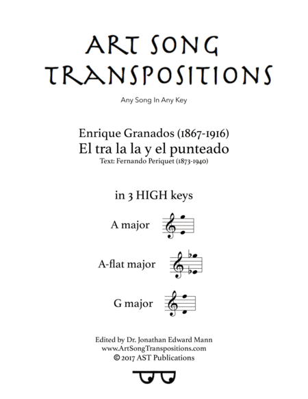 El tra la la y el punteado (in 3 high keys: A, A-flat, G major)
