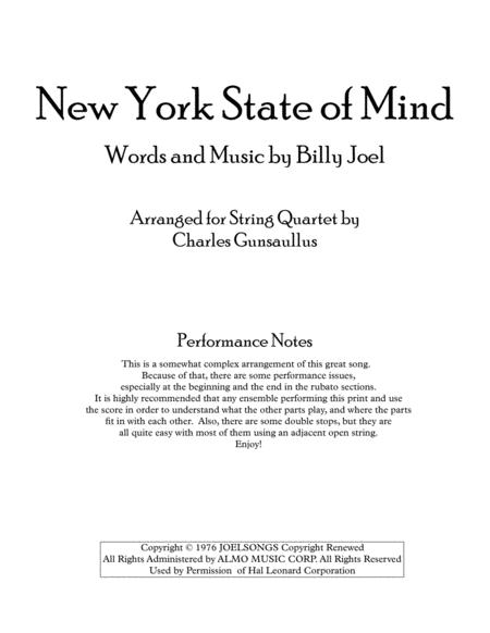 New York State Of Mind - String Quartet