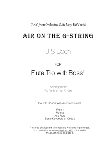 Air on the G-String for Flute Trio with Bass