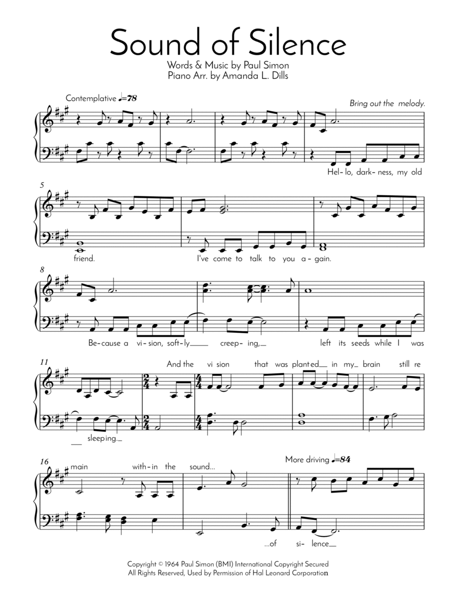 The Sound Of Silence (Easy Piano Arrangement)