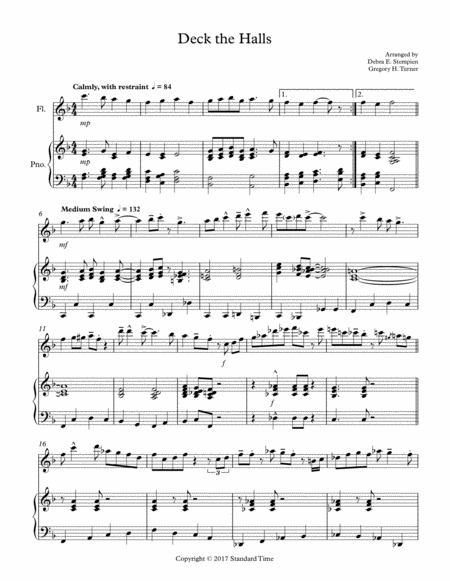 Deck the Halls for Flute Solo with Piano Accompaniment