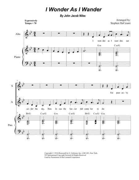 I Wonder As I Wander (Duet for Soprano and Alto Solo)