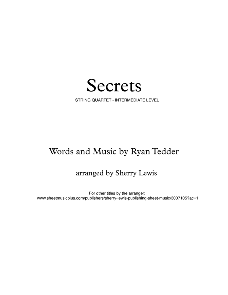 Secrets  String Quartet, String Trio, String Duo, Solo Violin, String Quartet + string bass chord chart, arranged by Sherry Lewis