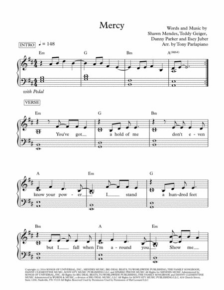 Mercy by Shawn Mendes (Parlapiano Arrangement)