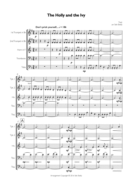 The Holly and the Ivy for Brass Quintet