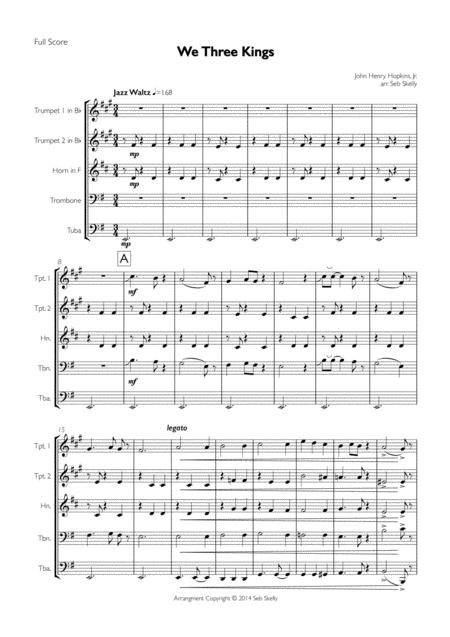We Three Kings for Brass Quintet (Jazz Waltz)