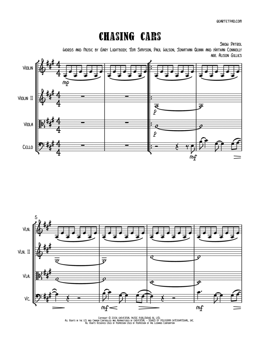 Chasing Cars - String Trio (vln/vla/vc)